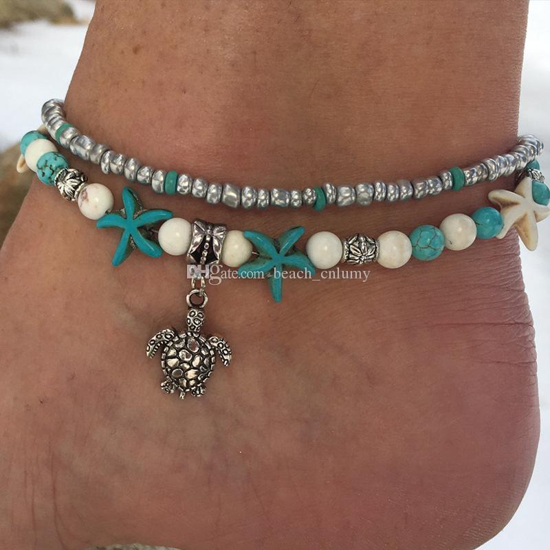 Moda İki katmanlı Halhallar zincirleri Barefoot Sandalet Ayak Zincirler Takı Shell / Denizyıldızı Turkuaz Halhallar Kadınlar Plajı seyahat Bilezik Halhal