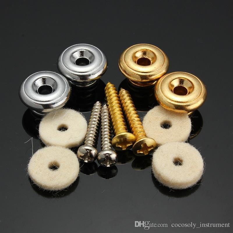 / Par Cogumelos Cabeça Strap Guitar Strap Locks Ouro / Prata Guitarra Baixo Belt Buckle Botão Guitar Parts Acessórios