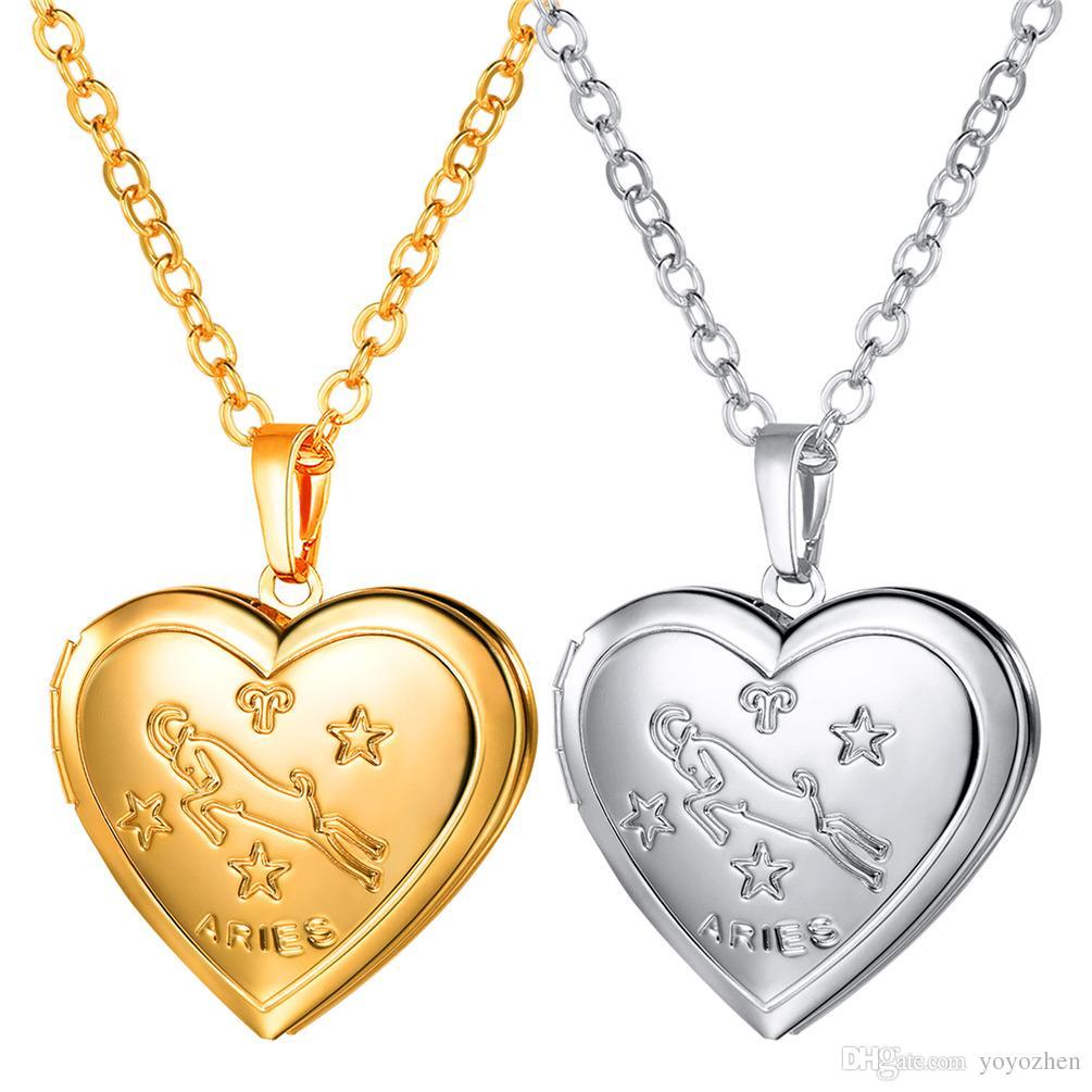 fd240d5e8b69 Compre Patrón Aries Medallones Collares 18 K Oro   Platino Plateado Joyería  Del Amante Regalos Corazón Colgantes A  10.64 Del Yoyozhen
