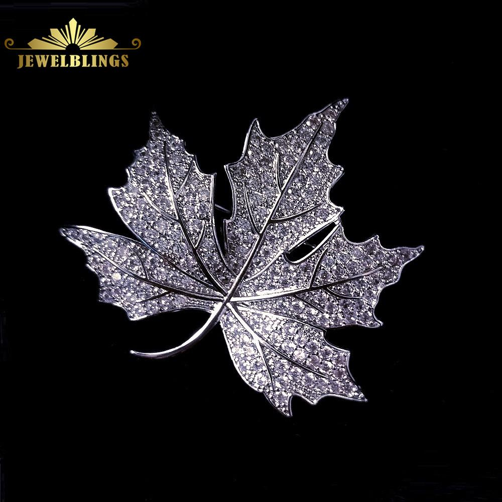 3bb2d1a85 2019 Queen Jewelry CZ Canadian Maple Leaf Brooches And Pins Silver Tone  Micro Pave CZ Victorian Style Vintage Maple Broach For Mother From  Wonderline2, ...