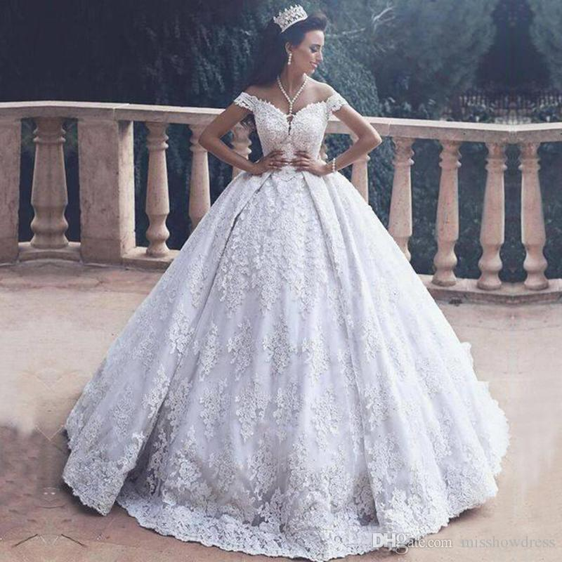 c518ff94580a 2018 Luxury White Off Shoulder Lace Ball Gown Wedding Dresses 3D Floral Appliques  Short Sleeves Backless Sweep Train Plus Size Bridal Gowns Ball Gown ...