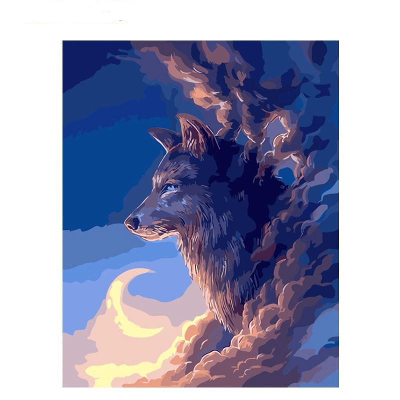 Compre Lobo Luna Sin Marco Diy Pintura Por Números Animales Imagen ...
