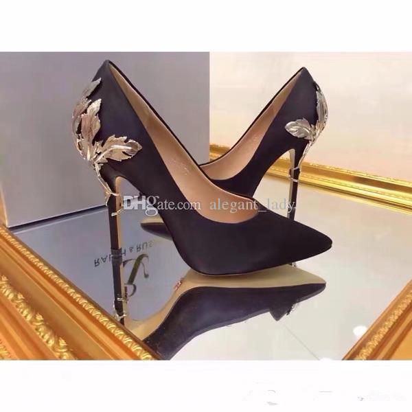 Luxury Designer Gold Leave Eden Heel 2018 navy stain pumps shoes for wedding silk bridal heels evening prom shoes