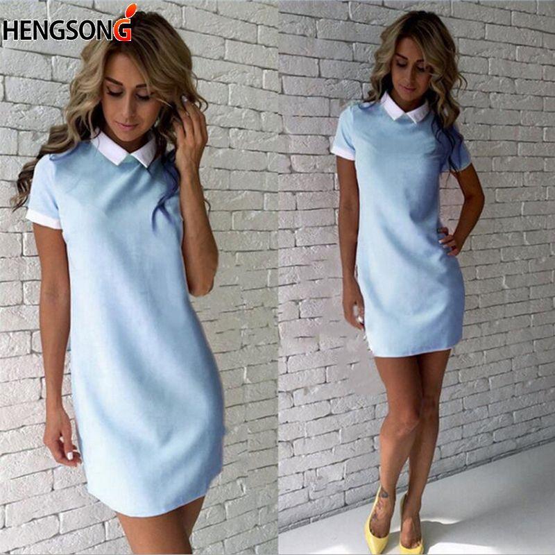 Weibliche Umlegekragen Kurze Büro Damen Casual Minikleid Sommer Kleid Outfits Kurzarm Frau Frauen Kleider OXZuTkiwP
