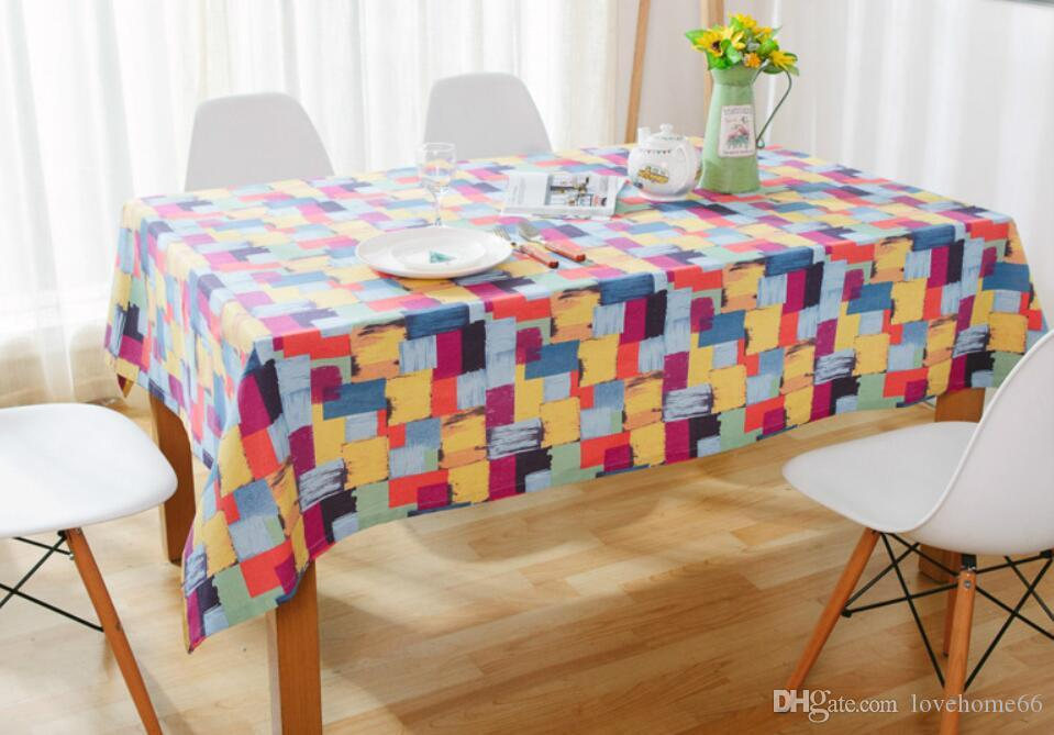 Rectangular Cotton Linen colourful printing Washable Tablecloth Vintage Rectangle Dinner Picnic Table Cloth Home Decoration
