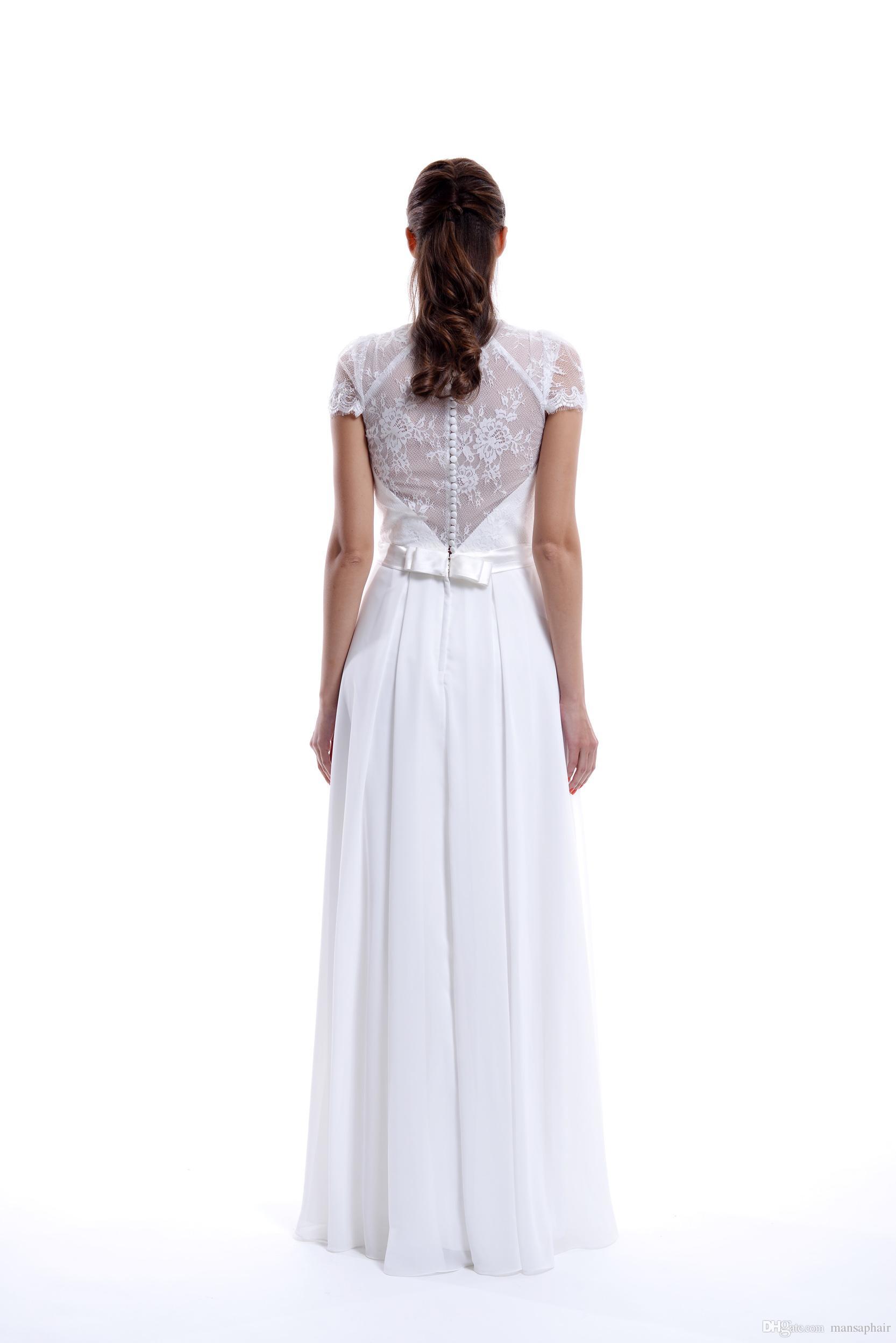 2018 Elegant Country Lace Wedding Dresses Mermaid V Neck Cap Sleeve Modest Wedding Bridal Gowns Cheap Country A Line Wedding Dresses