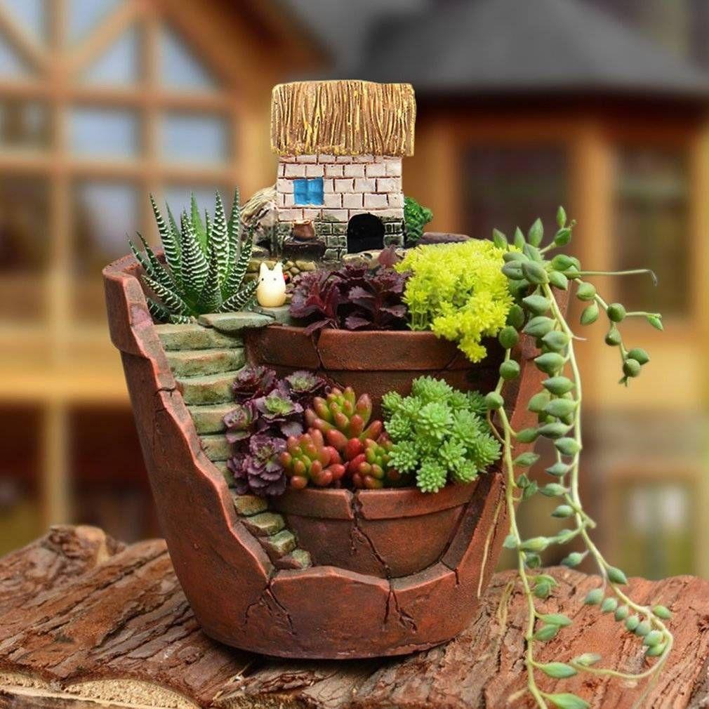 2018 Creative Plants Pot City Of Sky Succulent Plant Pot Flower ...
