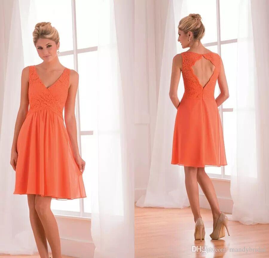 2018 New Jasmine Short Bridesmaid Dresses Orange Lace Chiffon Maid ...