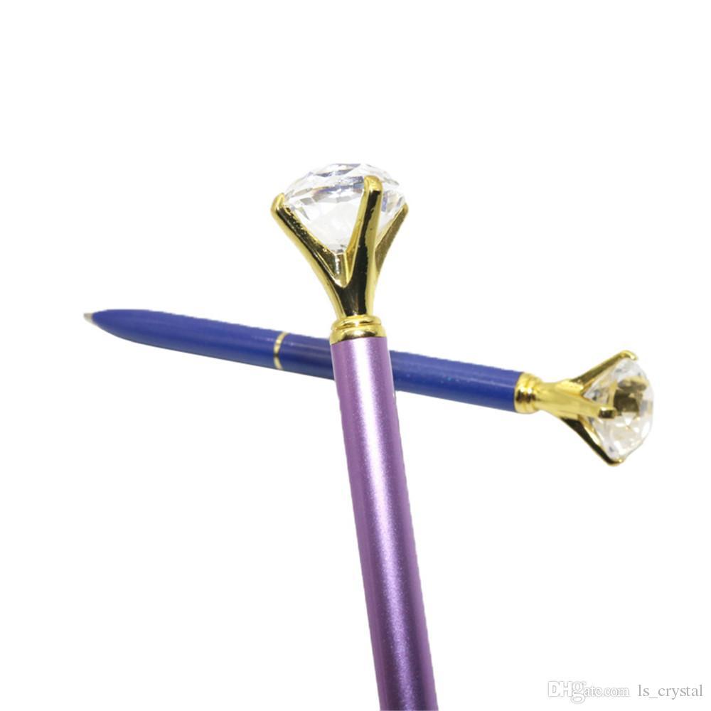 볼펜 큰 다이아몬드 큰 보석 금속 공 펜 파란색과 검정색 잉크 마법의 펜 패션 학교 사무 용품 WJ003