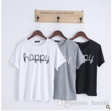 fb77f16c090 Korean Style Summer Female T Shirt Wholesale Casual Lady Brand Tops Tee  Happy Letter Print Women S T Shirts Loose T Shirt T Shirt Sites Quirky T  Shirts From ...