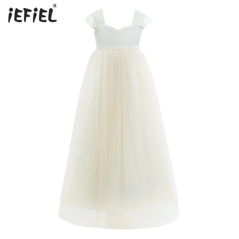 Flower Girls Dress For Wedding and Party Sleeveless Tulle Girl Flower Dresses Princess Pageant Bridesmaid Birthday Dress SZ 1-14