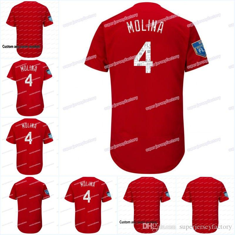 competitive price 1d4a9 6527e 4 Yadier Molina Men's 2018 Spring Training Jersey Women/Youth All Stitched  Flexbase Cool Base High Quality Baseball Jerseys