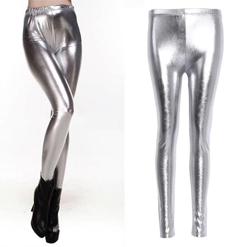 2854e3b8d8f6ad 2019 2017 Fashion Women Sexy Shiny Leggings High Waist Faux Leather Pencil  Pants Stretch Silver Gold Solid Elastic New Soft Legging From Dayup, ...