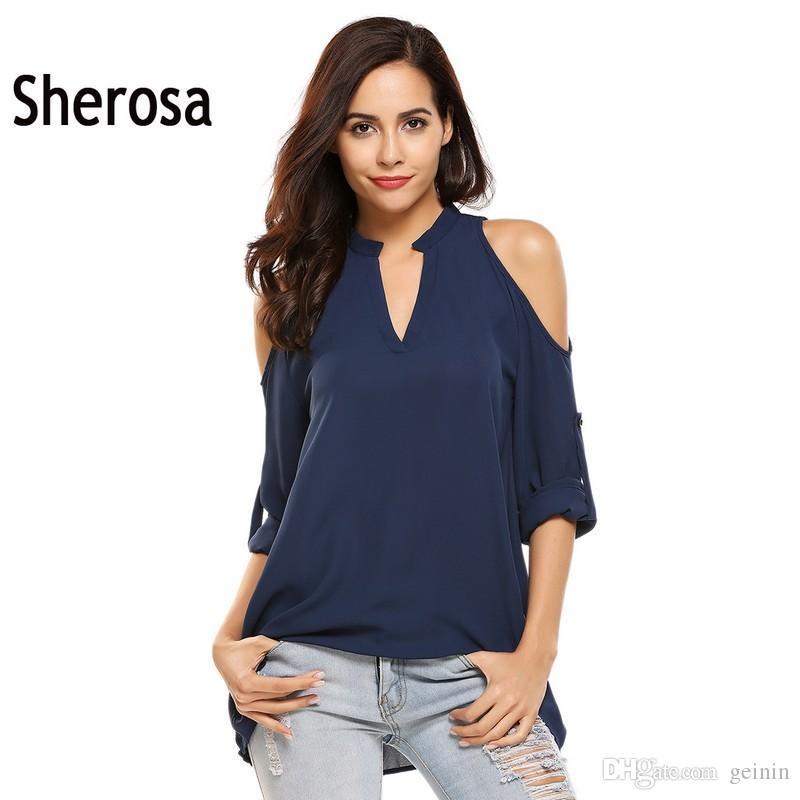 3365386825ff6 Sherosa Women Summer V-Neck Cold Shoulder Tops Fashion Long Sleeve ...