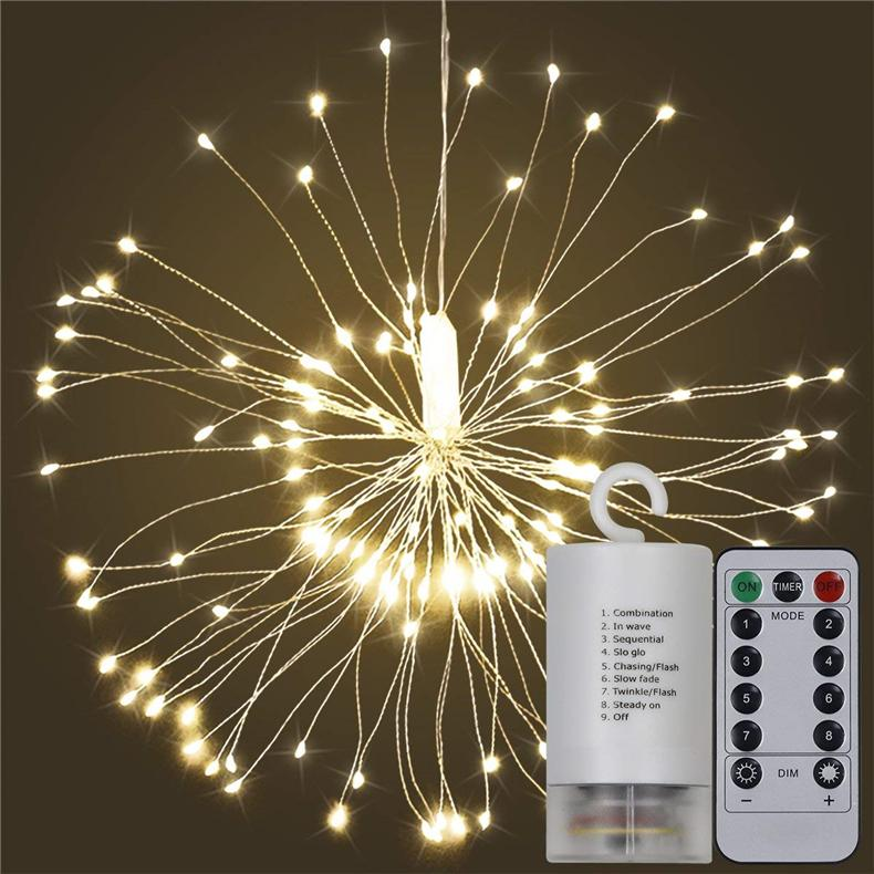 2018 New DIY Foldable Bouquet Shape 120 LED String Lights Firework Battery Operated Decorative Fairy Light for Garland Patio Wedding Parties
