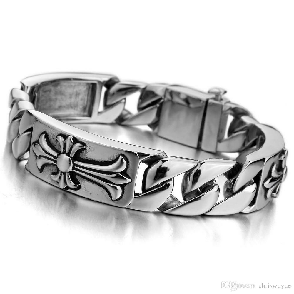 Браслеты для мужчин мода Шарм мужская большой тяжелый браслет из нержавеющей стали часы серебряный черный кельтский средневековый крест байкер