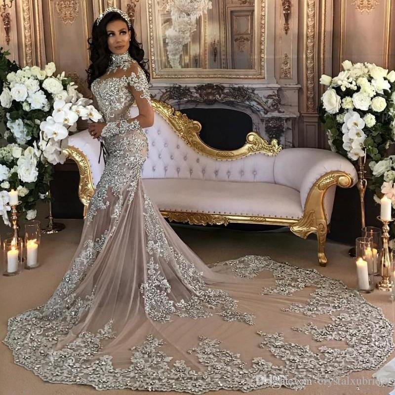 2018 Luxurious Evening Dresses Wear High Neck Sheer Long Sleeves Lace Appliques Crystal Beaded Court Train Prom Gowns Plus Size Party Dress