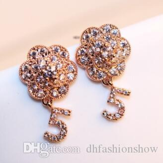 Cheap New Style Luxury Cubic Zirconia Flower Earrings Women Classic Fashion Dangle  Earrings Charms Jewelry Rose Gold Plated Vintage Earrings 80a2179ae497