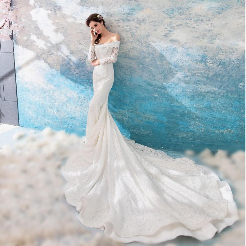 303378fc17 Long Trailing Tube Top Fish Tail Royal Bride Hot 2018 Bridal Wedding Gown  Real Photos White Lace Cheap Mermaid Wedding Dress Discount Wedding Dresses  Online ...
