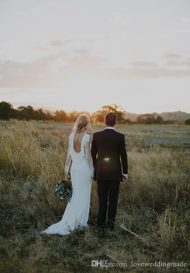 2018 vestidos de novia de encaje moderno de la envoltura de manga larga de Split Country Backless Beach Boho vestidos de novia por encargo