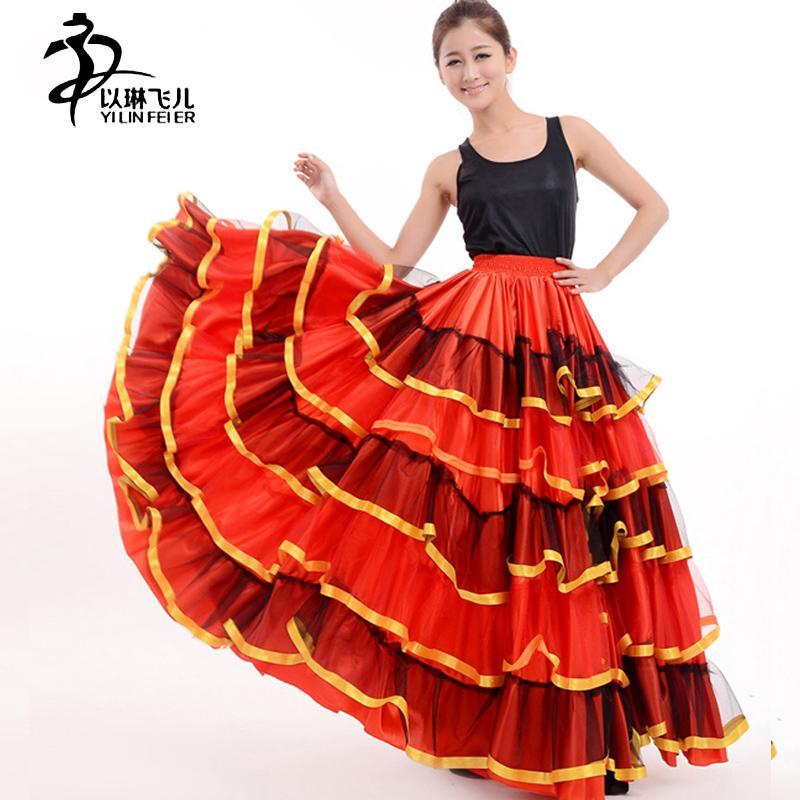 7263f65477 Compre Falda Flamenca Señoras Flamenco Flamenco Falda De Baile Senorita  Rumba Salsa Traje   Vestido De Flamenca   Falda Danza Del Vientre A  51.34  Del Ario ...