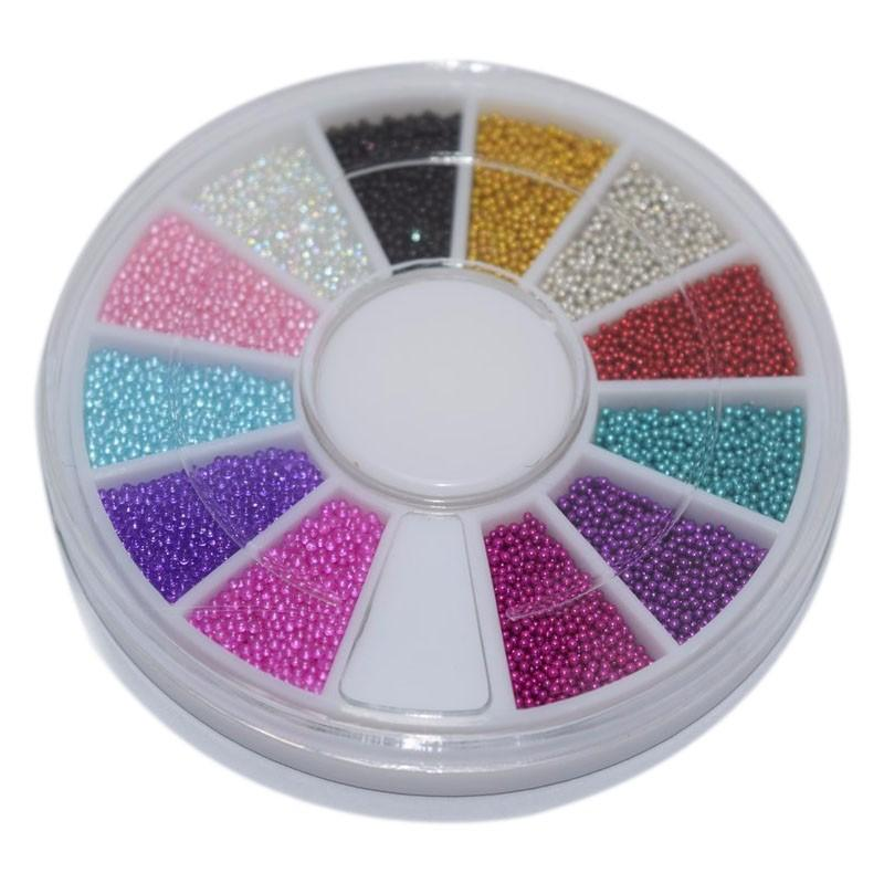 New 1 Box Wheel Nail Art Tools Magic Candy Color Design Caviar Beads
