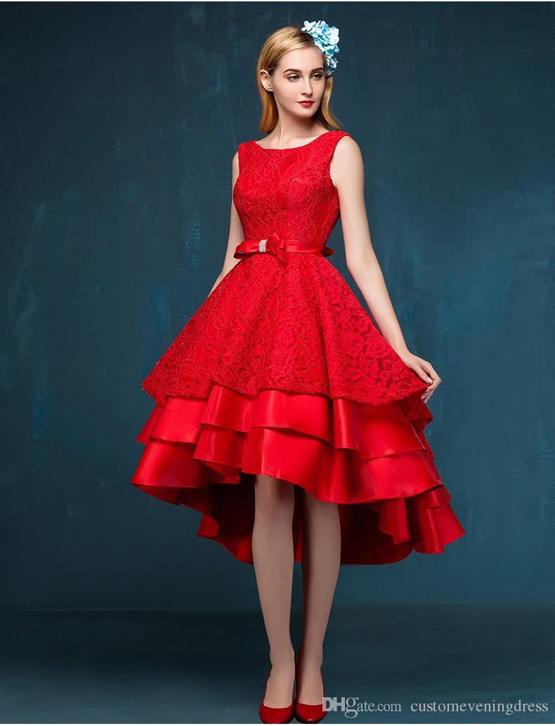 Party gown 2018 red After short before long sexy backless custom bow off the shoulder a-line lace Prom dresses