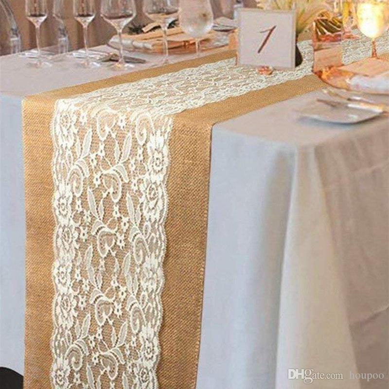 30108cm Christmas Lace Jute Table Runners Linen Hessian Burlap Blanket Home Decor Wedding Party Decoration Banquet Kitchen Accessories Rent Linens