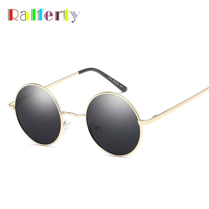 Ralferty Circle Women Vintage Sunglasses Eyewear Black Uv400 Sunglases Polarized Sun Glasses Classic Retro Round Men Gold X7711l g76bfYyv