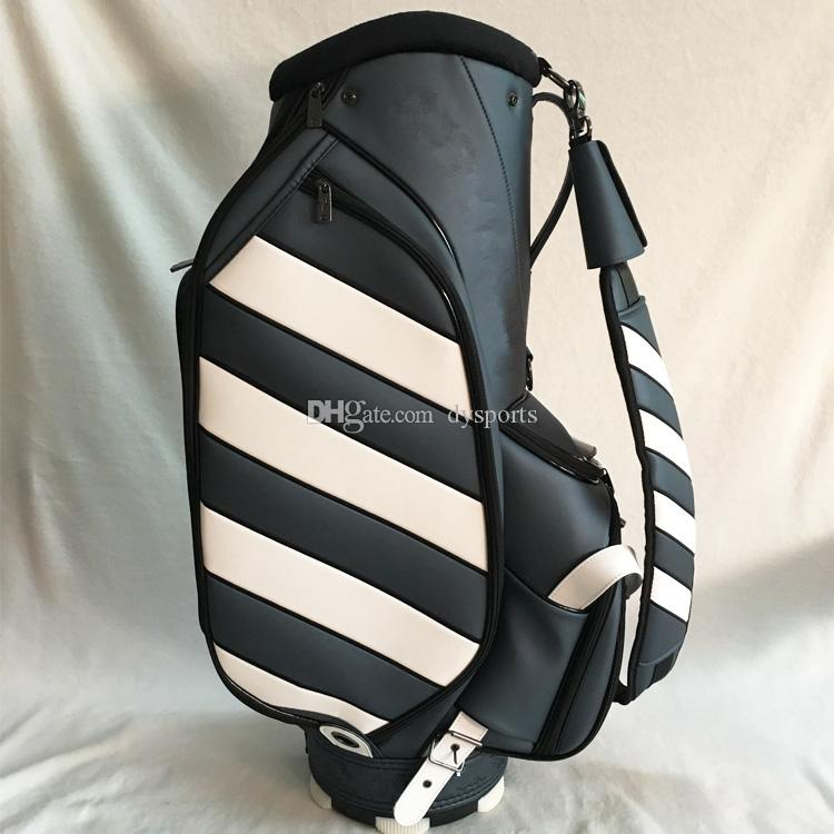 2018 Limited Edition Golf Bag Upscale Golf Bag Pu Leather Golf Clubs Bag  Stripes Golf Staff Bag Golf Clubs Bag Golf Cart Bags Stripes Online with ... 9fb80aac4912