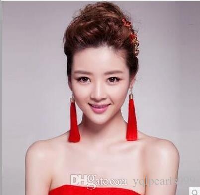 Kore moda trendsetter Abartılı Püskül Küpe aksesuarları gelin