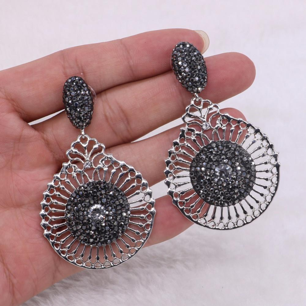 Baroque Hallow Dangle Earrings Round Flowers Drop Earrings Black Beads  Gemstone Women Fashion Jewelry Earrings Drop Earrings Flower Earrings  Online with ... 6978cce28e5d