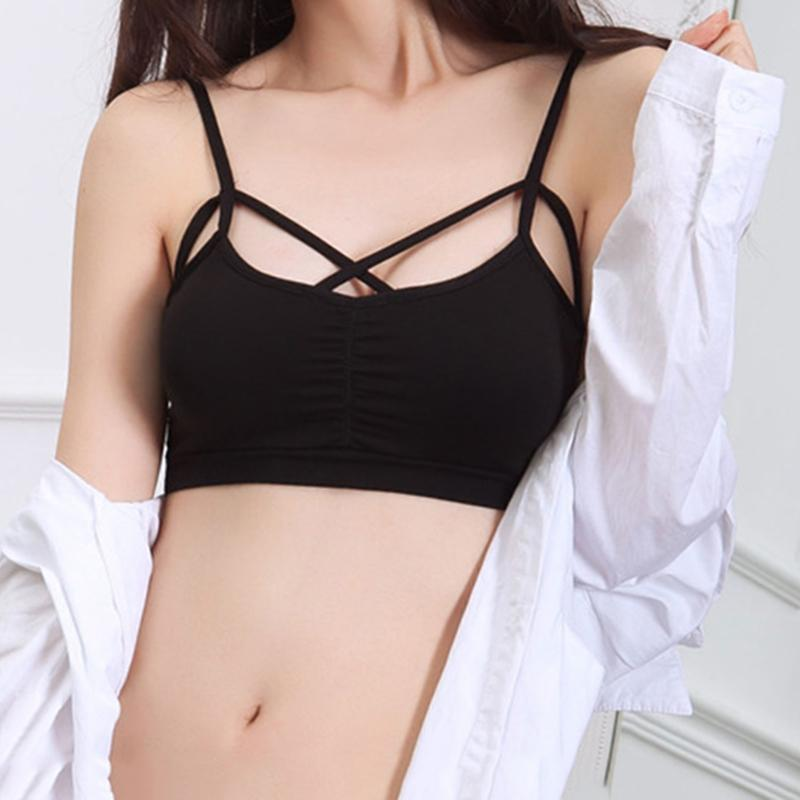 5b2821b3491 Sexy Women Cut Out White Bra Bustier Crop Top Bralette Strappy Cropped  Blusas Bandage Padded Tank Tops Camisole KH986742 Online with $19.86/Piece  on ...