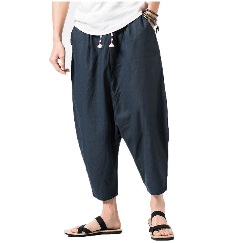 e95d75a16 2019 2018 Mens Wide Crotch Harem Pants Male Loose Summer Cropped Trousers  Wide Legged Bloomers Chinese Flaxen Men Jogger Cross Pants From Philipppe,  ...
