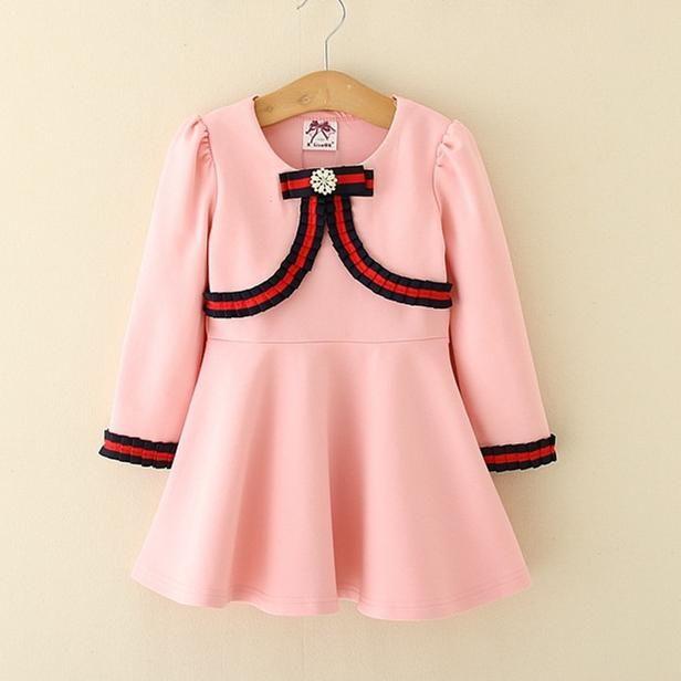 0489e60c828f Kids Girl Dress 2-6T Baby Girls Striped Bow Dresses 2018 New Spring ...