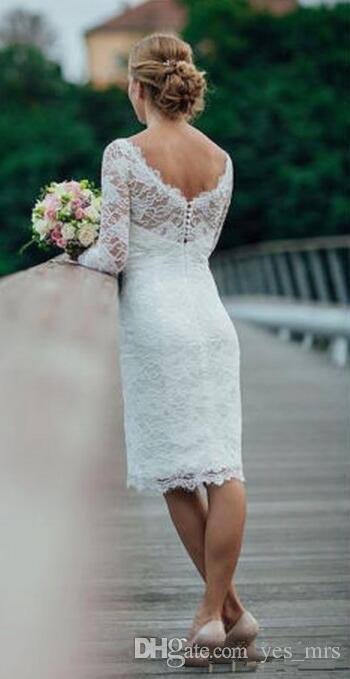 2020 cortocircuito de la envoltura más el tamaño de los botones Imperio vestidos de una línea de novia de encaje Volver 3/4 longitud de la rodilla Vestidos de novia de manga larga formales árabes