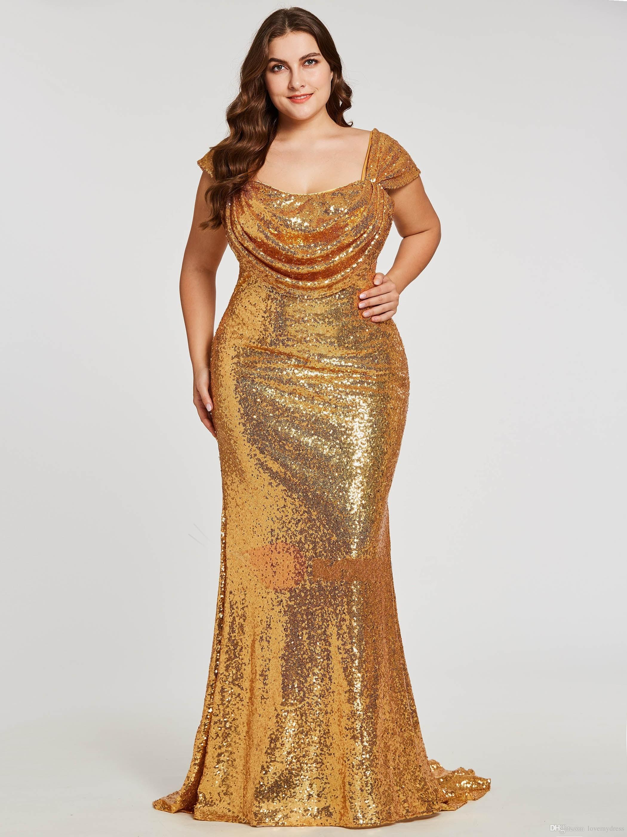 Sparkly Gold Sequined Plus size Evening Prom Dress Square Neck 2021 Mermaid Zipper Back Floor Length Ruched New Pageant Dress