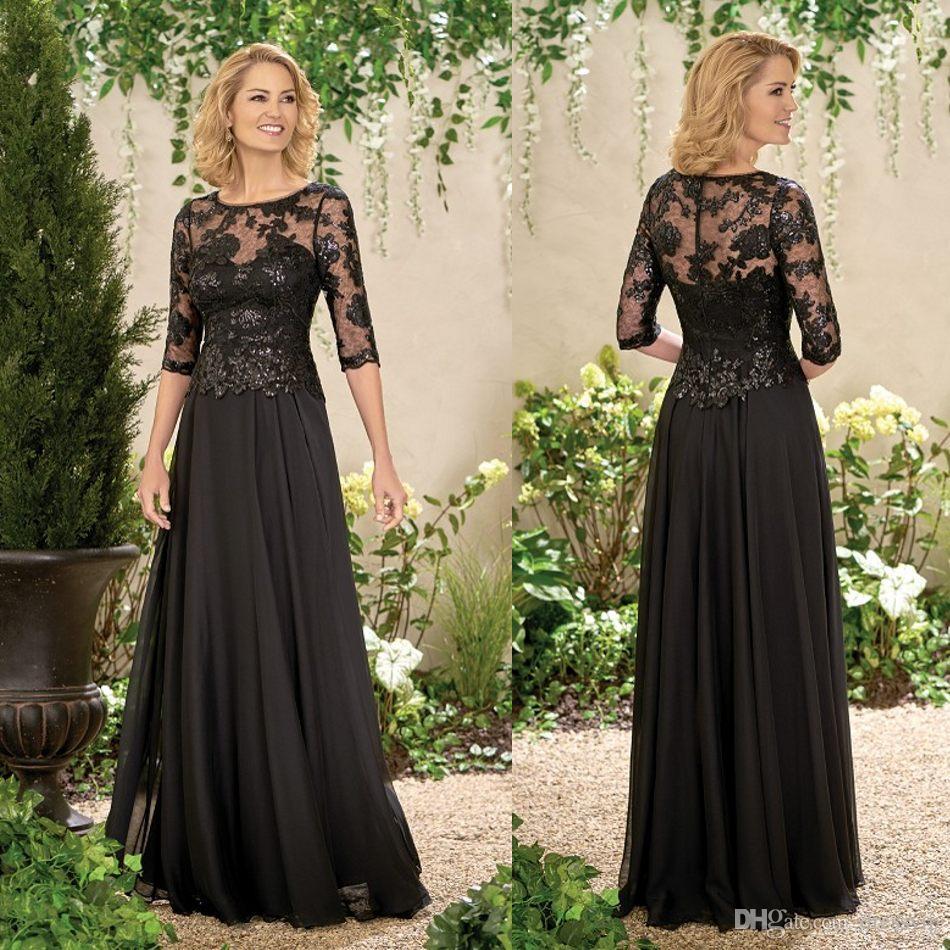 Großhandel Half Long Sleeve Mutter Des Bräutigams Kleider Schwarz ...