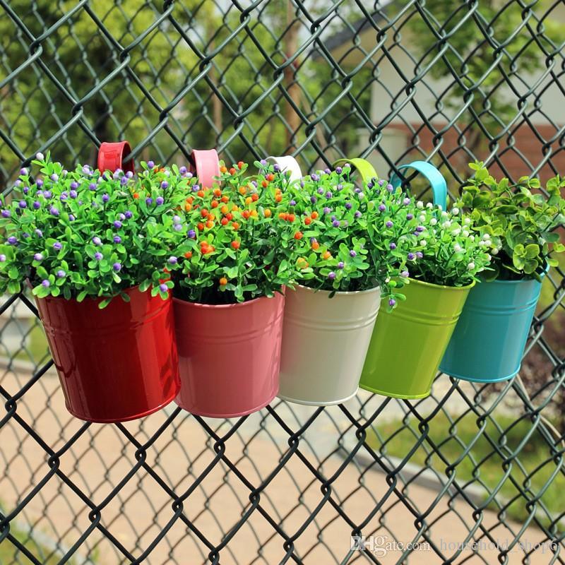 Fleur En Métal Suspendu Pots Jardin Balcon Mur Vertical Accrocher Seau En Fer Titulaire Panier Avec Étain Amovible Décor À La Maison