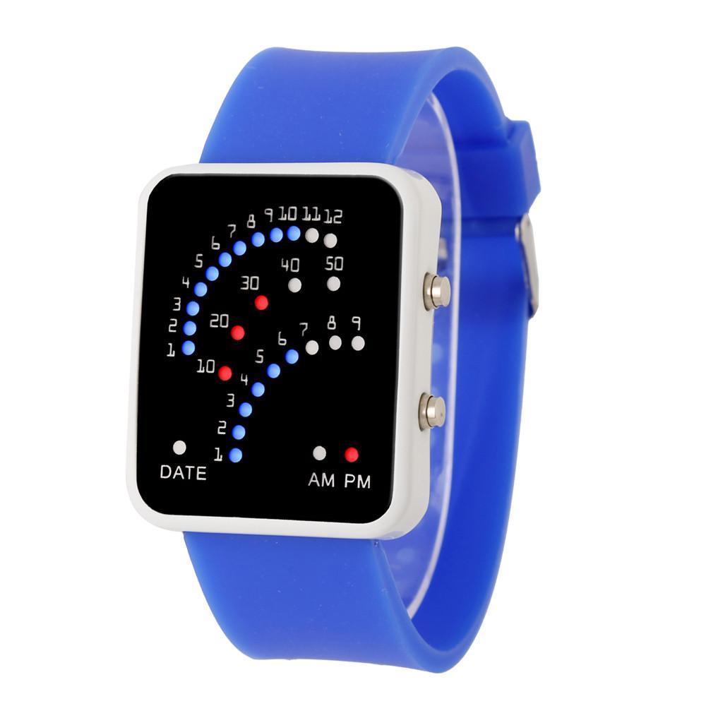 e3ad9e672581 Compre   5002Womens Mens Estilo Futurista Multicolor LED Deporte Reloj De  Pulsera DROPSHIPPING Nueva Llegada Ventas Calientes A  34.1 Del  Qualitywatch ...