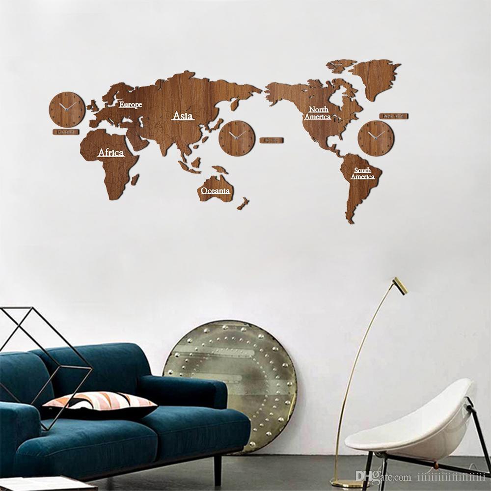 Creative Wooden World Map Wall Clock 3d Map Decorative Design Home