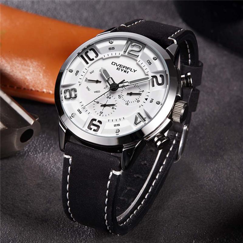 3abb7bfeed16 Acheter EYKI Reloj Hombre Mode Hommes Montres Top Marque De Luxe En Cuir  Quartz Montre Lumineux Sport Hommes Montre Bracelet Mâle Horloge Noir De   38.53 Du ...
