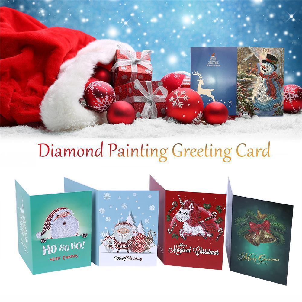 Merry Christmas 5d Diy Diamond Painting Cartoon Paper Greeting