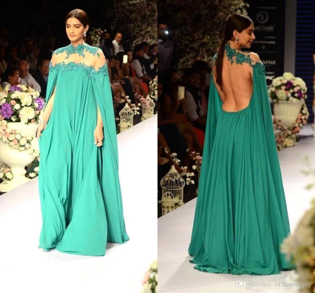 Hunter arabe robe de bal avec châle cape de cou de bateau en dentelle appliques une ligne longueur de plancher musulman robes de soirée formelles robe de reconstitution historique 2018