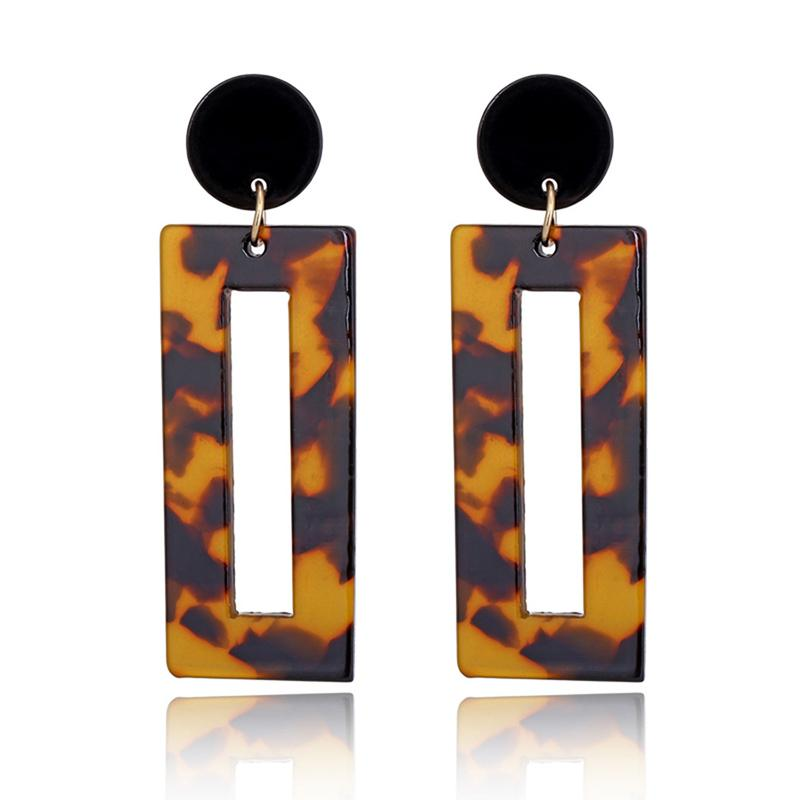 Acrylic 1Pair High Quality Resin Girls Valentines Gift 4 Colors Leopard 2018 NEW Women Drop Earring Square Birthday Gift