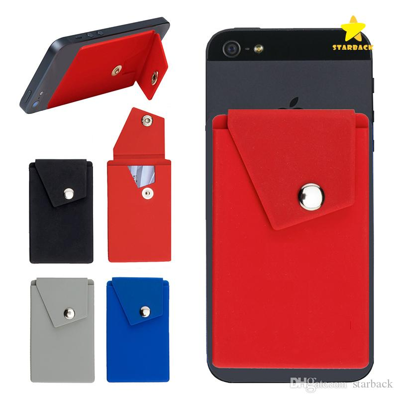 new product 1810e 6f83a Adhesive Silicone Phone Wallet Case with Snap Pocket Phone Back Stick-on  Credit Card Holder with Stand for Smart Phone Random Color