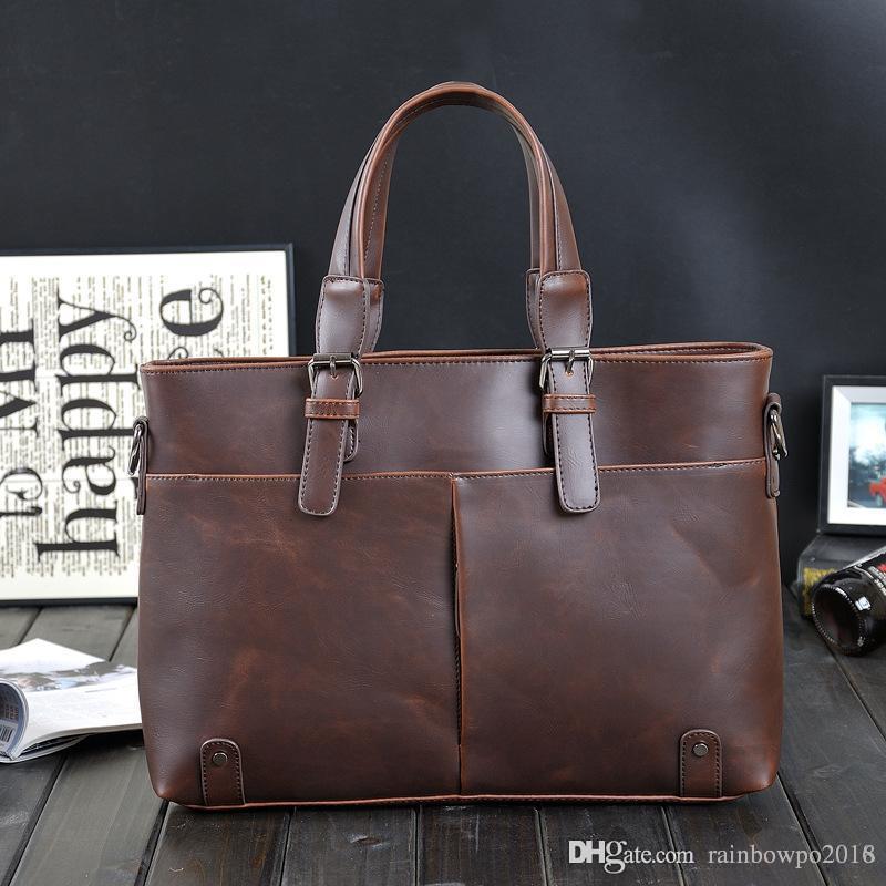 0733ec5437 Factory Sales Brand Korean Male Bag Retro Crazy Horse Leather Briefcase  Classic Men S Pure Leisure Business Men Shoulder Messenger Bag Black Leather  ...