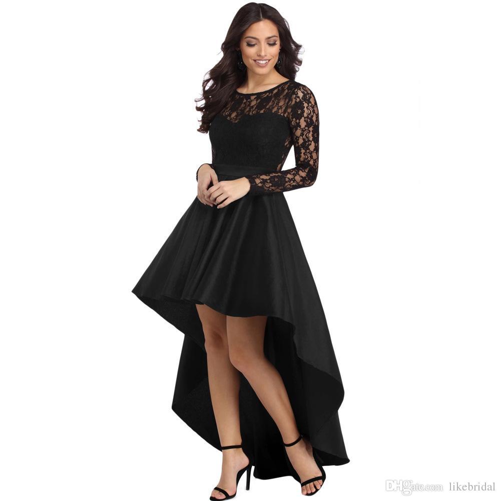 0a415fb0803 Acheter 2018 Nouveau Style Robe Noire En Dentelle À Manches Longues Partie  Robe De Soirée Haute Jupe Asymétrique