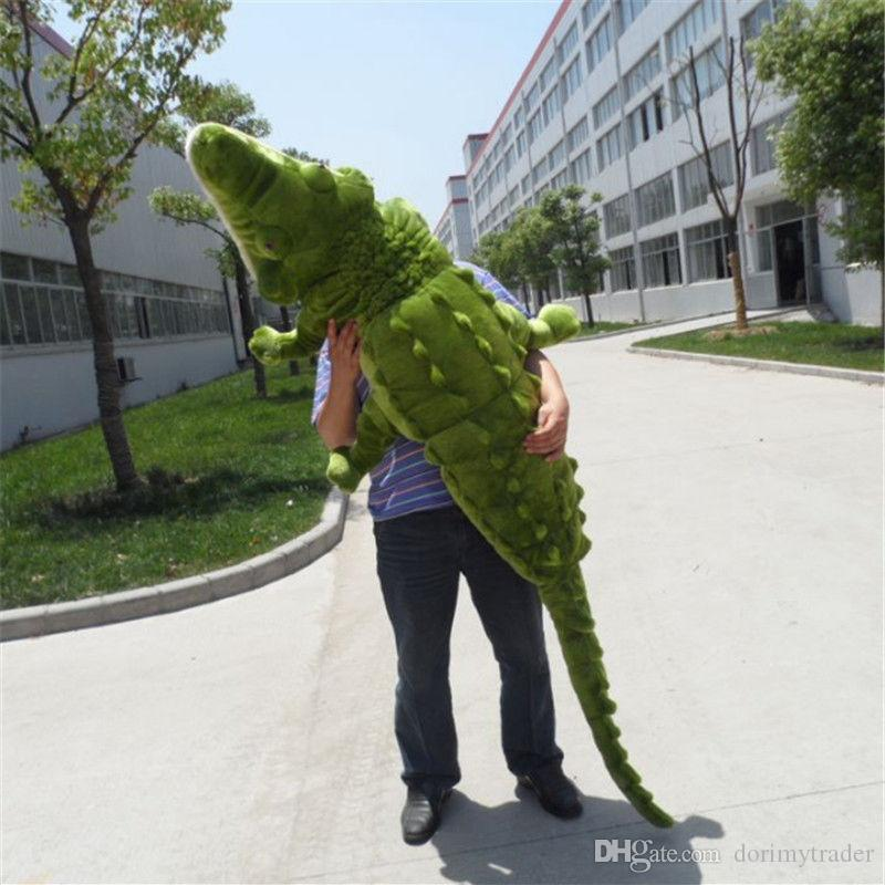 Dorimytrader Jumbo Simulation Alligator Plush Toy Big Emulational Animal Crocodile Doll Pillow for Children Gift Home Deco 220cm DY60293