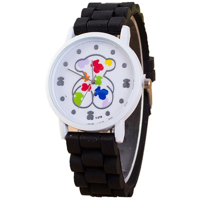 c7da838768a2 Compre Moda Unisex Para Hombre Mujeres Ginebra Animal Encantador Patrón De  Oso Reloj De Goma De Silicona Reloj De Los Estudiantes Relojes De Cuarzo De  ...
